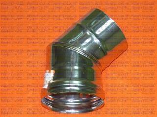 Уголок 45°, d-125мм (AISI 430/0.5мм) 2 секции