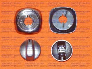 Ручка крана конфорки Гефест-6100, GEFEST-6140 серебро с кольцом