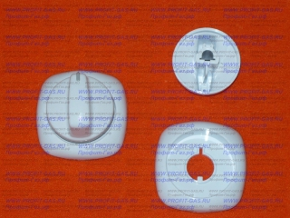 Ручка крана конфорки Гефест-6100, GEFEST-6140 с кольцом белая