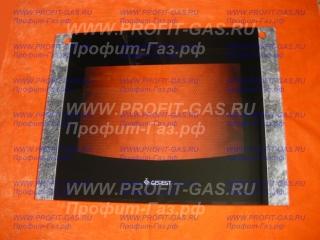 Стекло духовки наружное GEFEST-1500 черный мрамор с отверстиями (598х450мм)