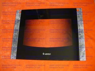 Стекло наружное GEFEST-1200 черный мрамор с отверстиями для ручки духовки (598х442мм)
