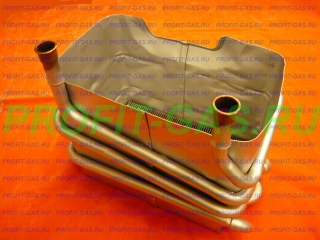 Теплообменник радиатор газовой колонки BOSCH Бош Junkers Юнкерс WR10, WR11. Заводской код 87054063840. Производство - Россия