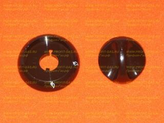 Ручка крана конфорки газовой плиты Гефест-1100, Гефест-3100 с кольцом коричневая