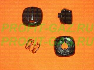 Ручка крана конфорки, духовки и таймера газовой плиты Гефест-1300, Гефест-1500, Гефест-1502 черная в сборе