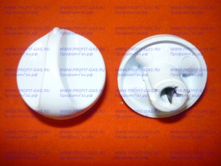 Ручка крана конфорки для плиты Гефест-100, Гефест-120, Гефест-420 белая