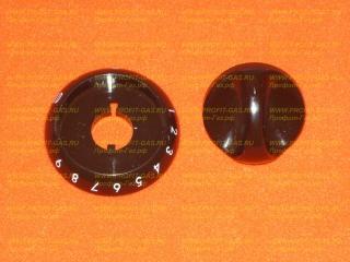 Ручка крана духовки газовой плиты Гефест-1100, Гефест-3100 с кольцом коричневая