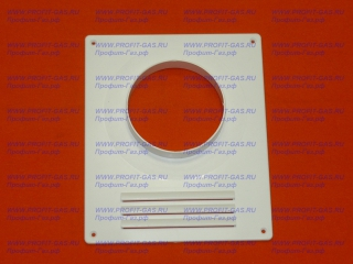 Площадка торцевая 205х240мм для крепления воздуховода d-115мм (пластиковая белая)